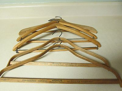 Lot Of 5 Vintage Wooden Clothes Coat Hangers Advertising Chicago, Iowa City, IA!