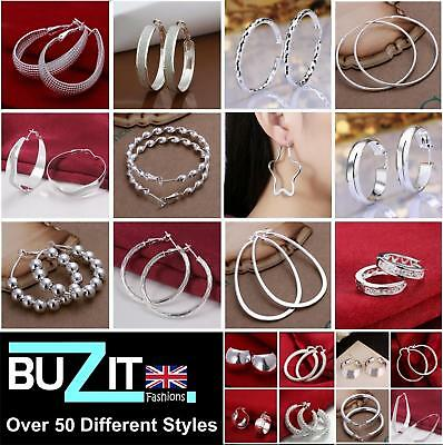 Ladies 925 Sterling Silver Plated Hoop Earrings Large/Small Hooped Sleeper