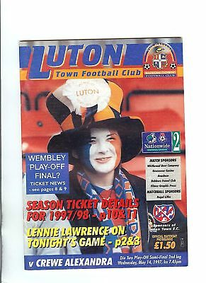 Play Off Semi Final Programme Luton Town v Crewe 1996/97