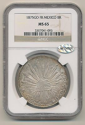 Mexico 1875Go Fr 8 Reales Km# 377.8 Ngc Ms65 Silver Wings Approved