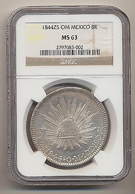 Mexico 1844Zs Om 8 Reales Km# 377.13 Ngc Ms63