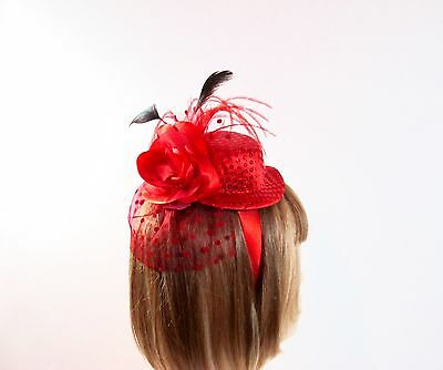 Red Rose Sequin Satin Mini Hat Fascinator Headband For Red Hat Ladies Of Society