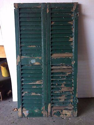 Pair Antique Hinged Shutters Green Vintage Old 13x48 2093-16