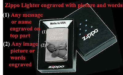 Zippo Lighter With Photo  /  Picture And/or Words Engraved (High Polish Chrome)