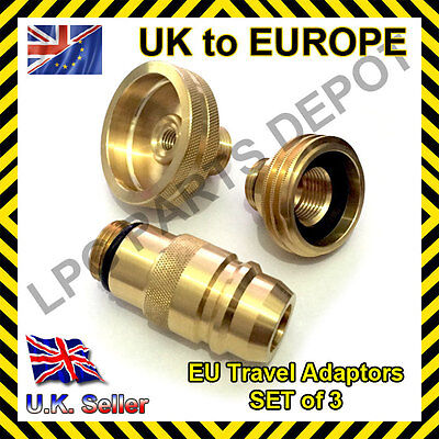 LPG GPL adapter SET of 3 UK to EU gas propane FRANCE GERMANY SPAIN all EUROPE