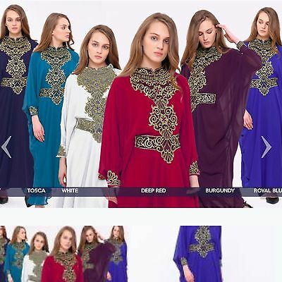 Dubai Abaya Kaftan Farasha Maxi Dress Royal Blue Longer Length 155cm