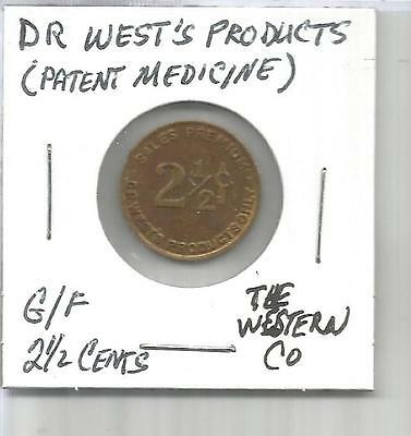 (M) USA Trade Token G/F 2 1/2 Cents Dr West's Products (Patent Medicine)