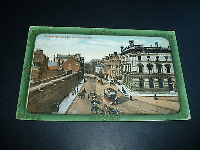 N. IRELAND  SHIPQUAY PLACE AND CITY WALLS LONDONDERRY EARLY 1900s  POSTCARD USED