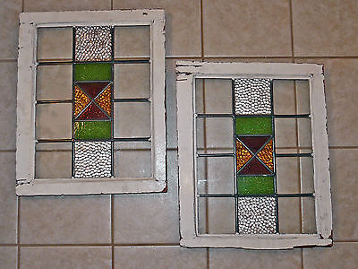 """Matched Pair Vintage Stained Glass Windows~15 ½"""" X 20 ½""""~125-150 Yrs Old"""