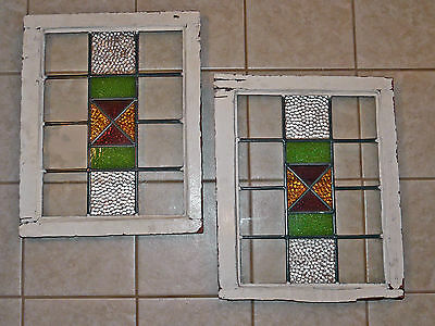 "PRICE DROP!~Matched Pr Vintage Stained Glass Windows~15 ½"" X 20 ½""~125 Yrs Old"