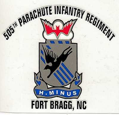 505th Paratrooper Infantry Regiment Ft. Bragg, NC Decal