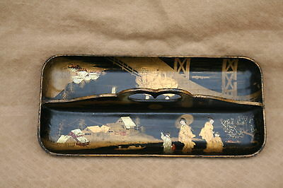 ANTIQUE FRENCH LACQUER 19th PAPIER MACHE PENCIL TRAY DESK JAPANESE PATTERN 1880