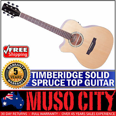 New Timberidge Left-Handed Solid Spruce Top Small-Body Acoustic-Electric Guitar