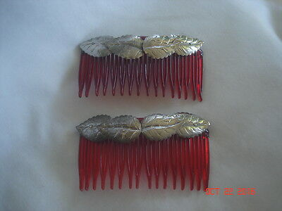 PRETTY LOT 2 Vtg. HAIR COMBS with SILVERTONE LEAF ACCENTS Matched PAIR