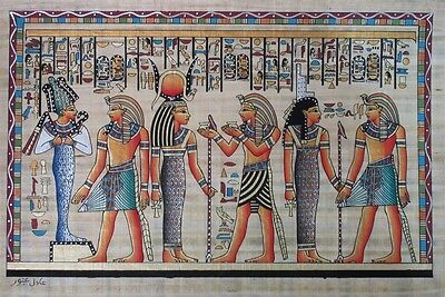 NEW HAND PAINTED EGYPTIAN ART ON PAPYRUS: Pharoah before Osiris and Isis, A95