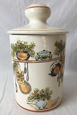 Vinage Ceramic Kitchen Canister Cookie Jar w Lid Hand Painted in Brazil