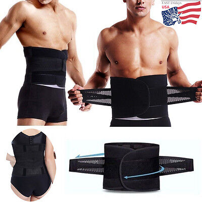 Adjustable Double Pull Lumbar Support Lower Waist Back Belt Brace Pain Relief AM