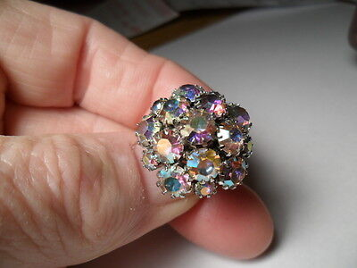 (Sarah Coventry Aurora Borealis signed adjustable cocktail Rings