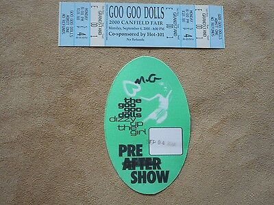 "Goo Goo Dolls ""dizzy The Up Girl"" Original Backstage Pass With Unused Ticket"