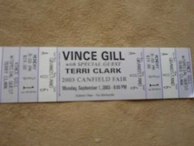 Vince Gill 2003 Canfield Fair Unused Concert Ticket With Terri Clark