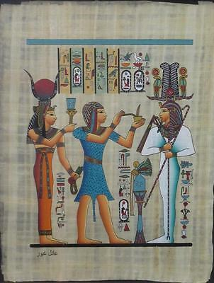 NEW HAND PAINTED EGYPTIAN ART ON PAPYRUS: Presenting a Plant pot A93