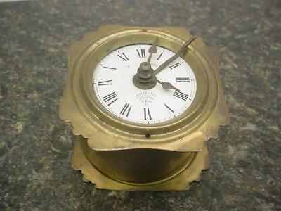 Old German Detailed Lenzkirch Brass Desk Novelty Clock Movement with Alarm E571