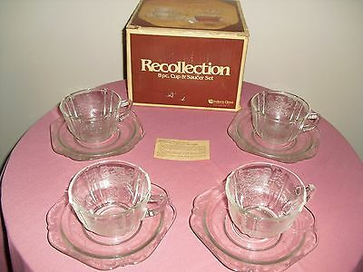 INDIANA Glass Madrid RECOLLECTION 8 PC Cup & Saucer Set