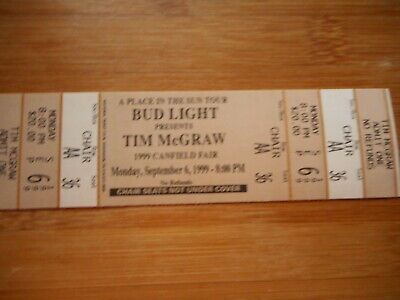 "TIM McGRAW ""A PLACE IN THE SUN"" 1999 CANFIELD FAIR UNUSED CONCERT TICKET"