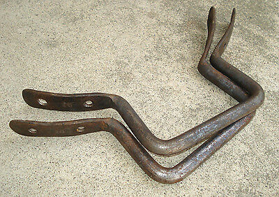"HEAVY Antique BIG 12"" Hardware Set Curved Handle Pull Bracket Cast Iron Old Vtg"