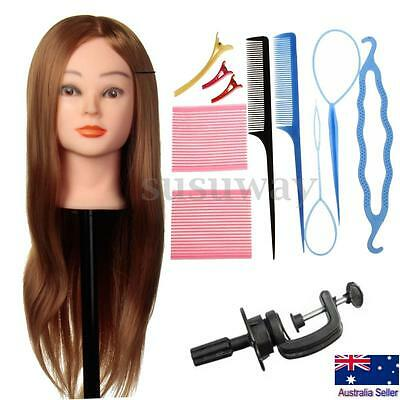 24'' Human Hair Hairdressing Training Mannequin Practice Head + Braid Set Tools