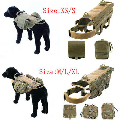 Mesh K9 Military Tactical Dog Harness Service Molle Vest /2-3 Pouches (Optional)