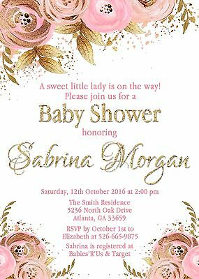 Pink Gold Floral Invitation Bridal Shower Baby Shower Birthday Personalized