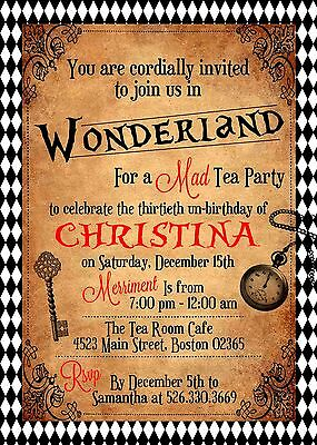 Alice in Wonderland, Vintage Inspired Invitation, Any Occasion, Personalized