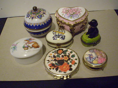 Trinket/ring Boxes Small Porcelain X 5 And Pill Boxes X 2