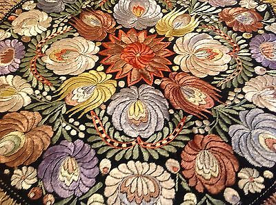 Antique  Silk Hand Embroidered 'Matyo' Tablecloth dating to approx 1910's.