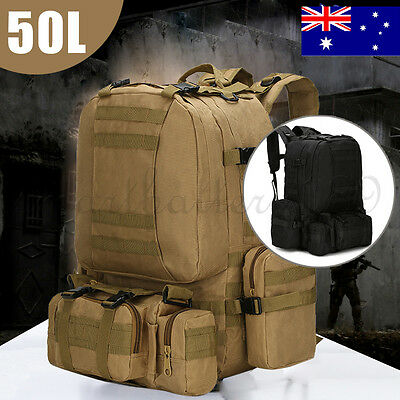 Large Outdoor 50L Molle Assault Tactical Military Rucksacks Backpack Camping Bag