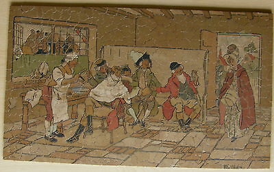 Vintage HOLTZAPFFEL wooden jigsaw puzzle - The Barber's Daughter by F.G. Lewin