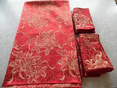 Tablecloth Red & gold floral & 12 napkins 90""