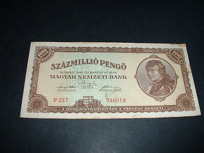 Hungary Ww2   Banknote 1946 100  Million  Pengo 1 Invoice Covers All