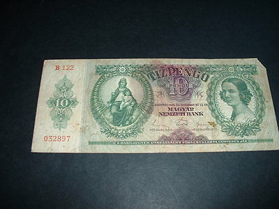 Hungary Ww2   Banknote 1936 10  Pengo 1 Invoice Covers All