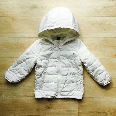 GAP Girl's White Lined Hooded Padded Coat Age 2 Years Autumn Winter