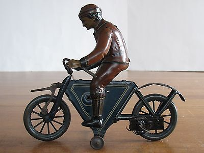 1900s Tin Litho Wind Up Clockwork Motorcycle Georg Fischer or Lehmann Germany EX