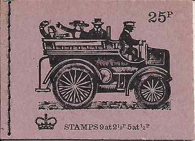 1972 GB QEII 25P STITCHED STAMP BOOKLET SG DH 47 No 5 MOTOR WAGONETTE AUGUST