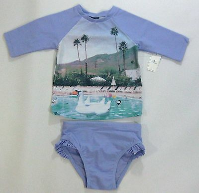 NWT Baby Gap Girls 3t 4t 5t Purple Swan Photo Real Rashguard Bathing Suit Swim