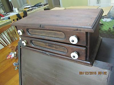 2 Drawer Walnut Needle Spool Cabinet For Jewelry, Hardware, Coins, Etc