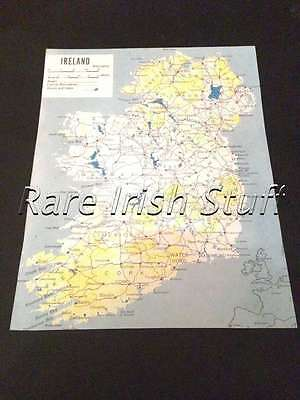Map Of Ireland Showing Countys,Towns,Cities,Roads & Lakes- Old Irish Print