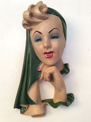 Glamourous Art Deco Style Plaster Chalkware  Wall Mask Plaque