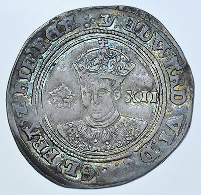 EDWARD VI SHILLING, (1551-3), mm. J FINE SILVER ISSUE THIRD PERIOD HAMMERED COIN