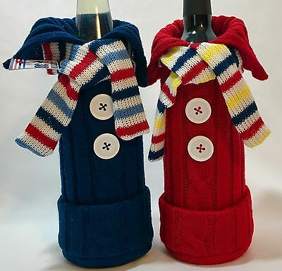Nautical Knit Sweater Wine Bottle Cover Red White Blue Yellow