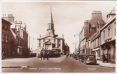 Aberdeenshire:  PETERHEAD - BROAD STREET.  Real Photo R.P. card posted 1950.